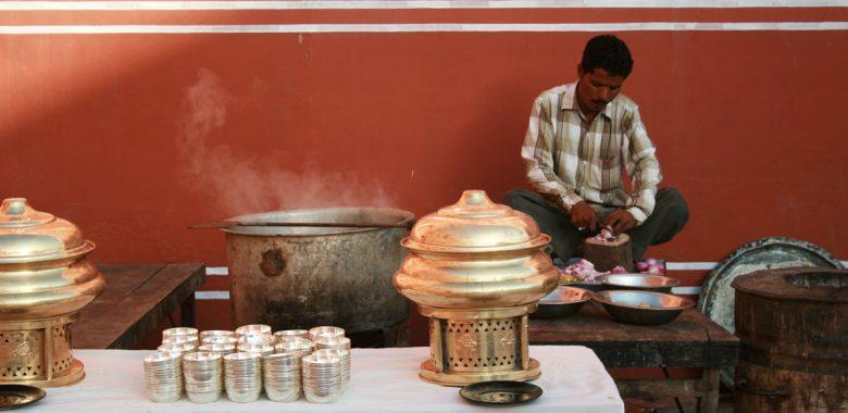 Preparação de almoço na Índia