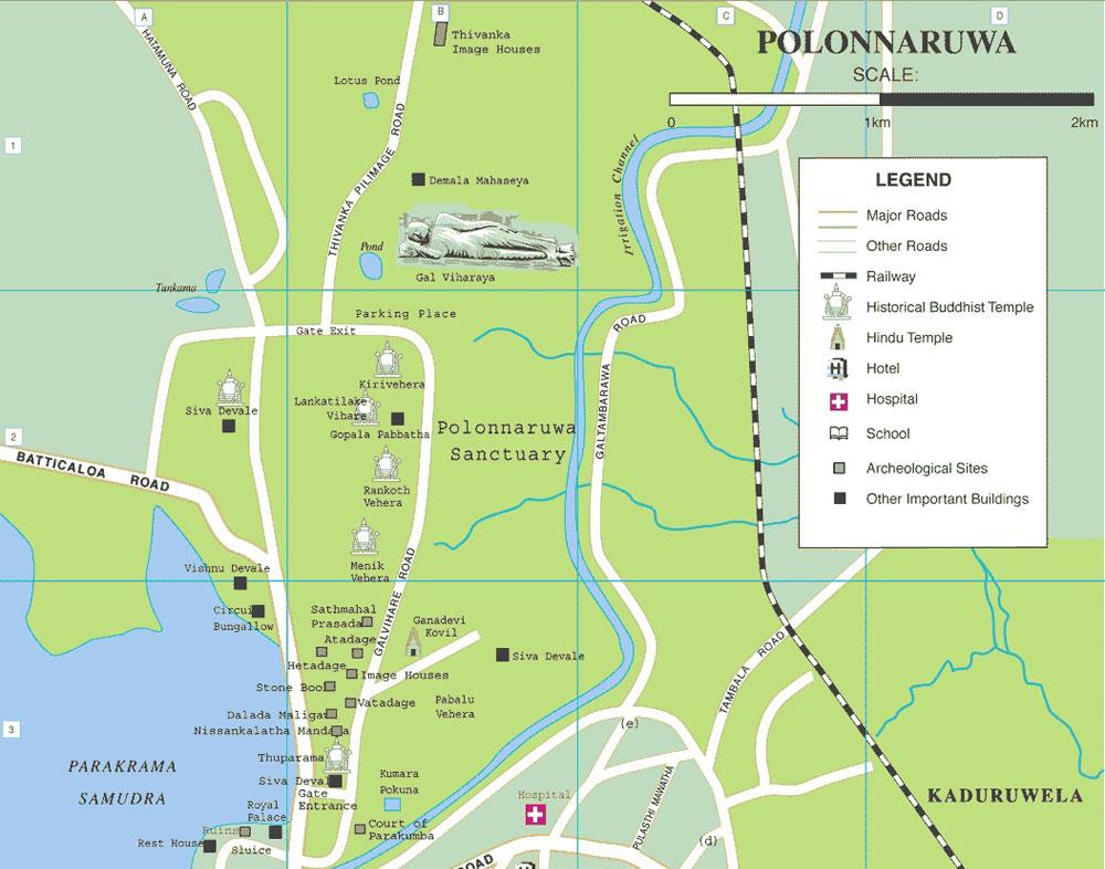 Mapa de Polonnaruwa, Sri Lanka