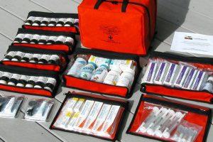 Farmácia e kit médico de viagem