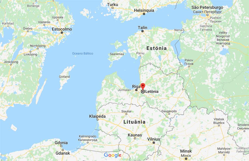Mapa de Letónia