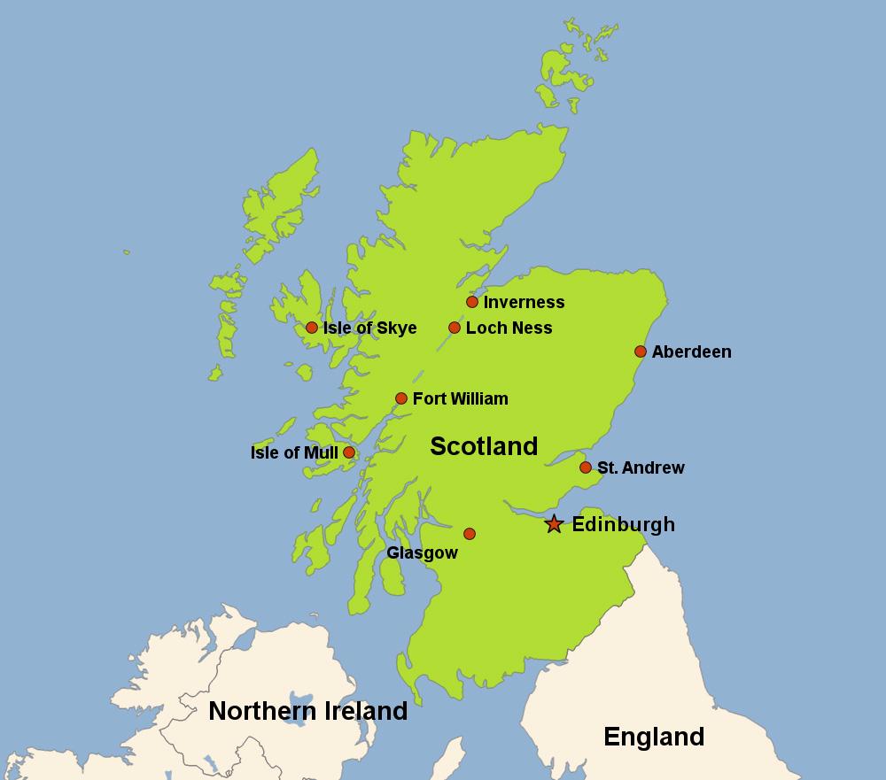 Mapa clima na Escócia