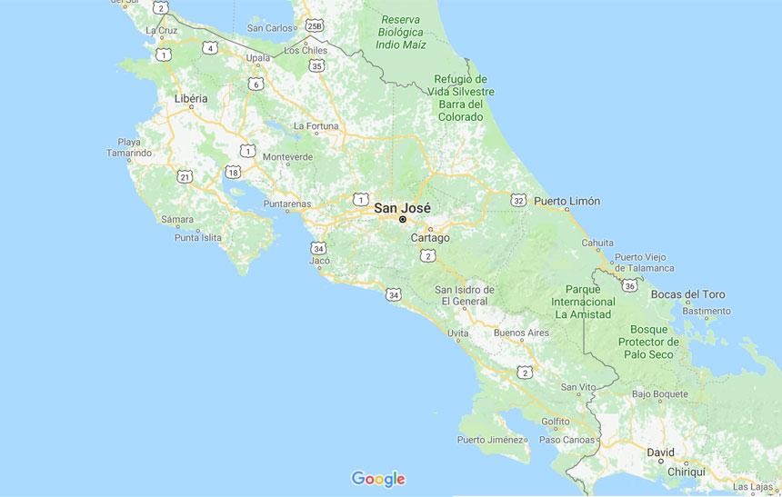 mapa clima na costa rica