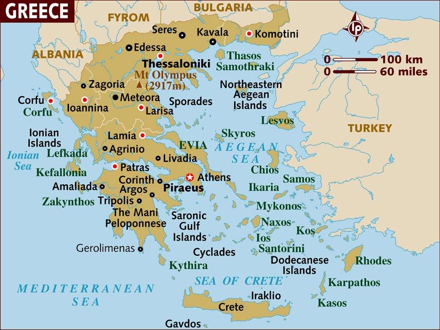 Mapa clima na Grécia