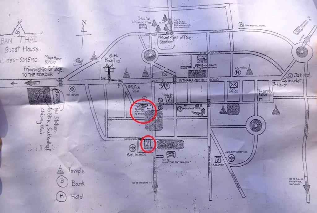 Mapa de Mae Sot, Tailândia