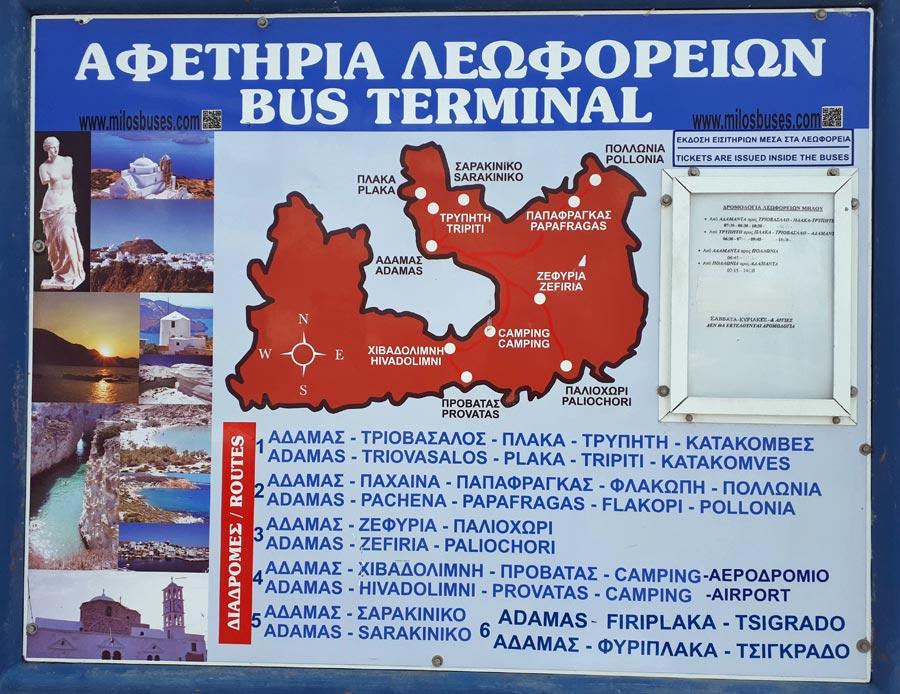 Rotas autocarros em Milos, Grécia