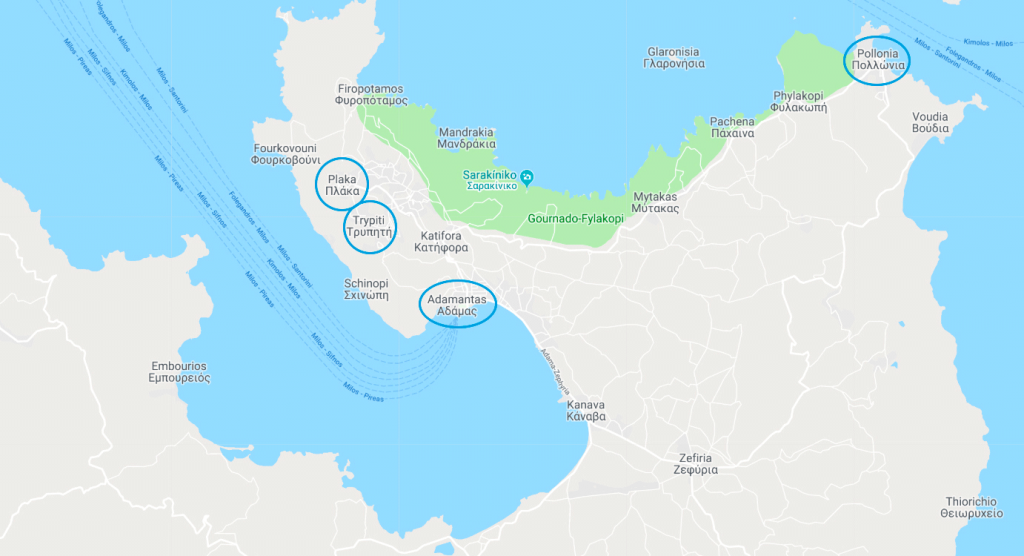 Mapa de Milos, Grécia